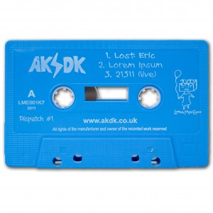Photo of a blue copy of Dispatch #1 on cassette